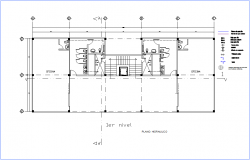 Hydraulic line of first floor plan of office with its legend dwg file