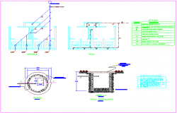 Hydraulic view with plumbing detail with its legend of multiple use room dwg file