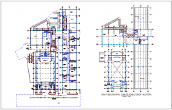 Hydraulics first and second floor plan of integral center dwg file