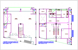 Hydro line for sanitary view  of first and second floor plan of housing with office area dwg file