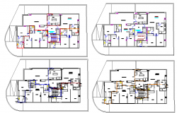 Hydro sanitary facilities of flooring of building dwg file