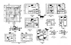 Hygiene services section, plan and installation details dwg file
