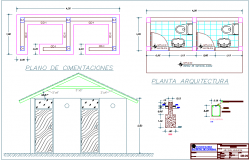 Hygienic area foundation view for multiple use area dwg file