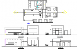 Ice-cream shop all sided elevation and plan details dwg file