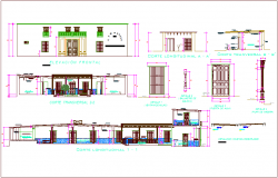 Iconic school elevation,different axis section and door and window detail view dwg file