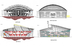Indoor sports stadium elevation and section details dwg file