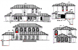 Industrial building planning and design of the structure and elevation section view dwg file