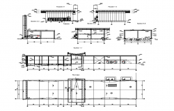 Industrial building section and plan 2d view dwg file