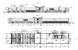 Industrial building structure detail 2d view elevation layout file