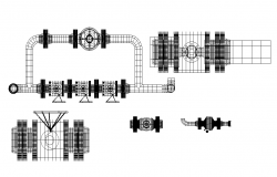 Industrial gas valve detail elevation layout autocad file