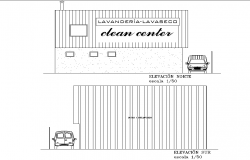 Industrial laundry elevation plan detail dwg file