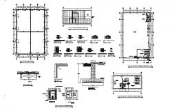 Industrial nave foundation plan and constructive structure details dwg file