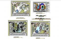Industrial plant elevation, section, plan, complementary area and outdoor garden landscaping details dwg file