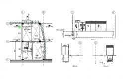 Industrial plant unit main section and constructive sectional details dwg file