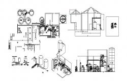 Industrial processing plant section, plan and isometric view cad drawing details dwg file