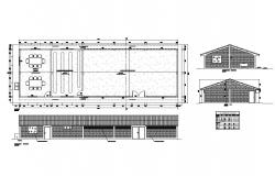 Industrial warehouse elevation all sided and plan details dwg file