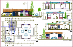 Initial educative center with garden distribution plan,elevation and section dwg file