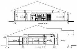 Inside section design drawing of bungalow design drawing