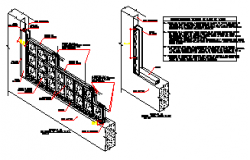 Installation design of glass block partition drawing