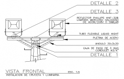 Installation details of cross street and reflectors dwg file