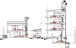 Installation of gas water sewer building section dwg file