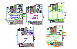 Installation plan of air condition system,fire and electrical system plan of collage dwg file