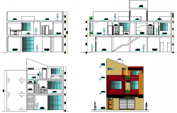 Institution building plan design view dwg file
