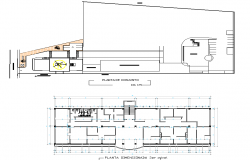 Institutional building with heliport plan detail dwg file
