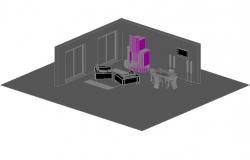 Interior 3d details dwg file