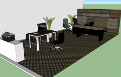 Interior Design of Office with furniture detail