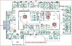 Interior design equipment with plan of  hospital dwg file