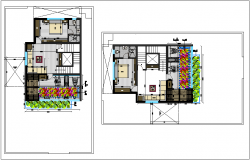 Interior design of house dwg file