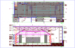 Interior design of stage with plan and elevation dwg file