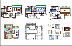 Interior design view of house plan with detail view dwg file