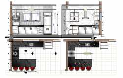 Interior details of a kitchen dwg file
