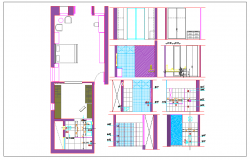Interior elevation view of furniture wardrobe of bed room dwg file