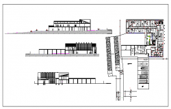 Interior floor plan and exterior elevation of a  Hotel dwg file