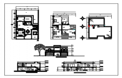 Interior floor plan and exterior elevation of a bungalow dwg file