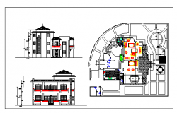 Interior floor plan and exterior elevation of a house dwg file