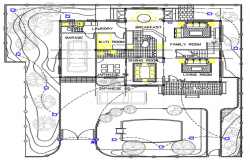 Interior floor plan of a bunglow dwg file