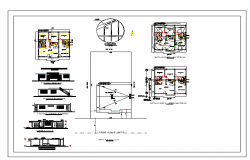 Interior plan and exterior elevation of a small House dwg file