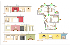 Interior residential housing plan view,design plan layout detail dwg file