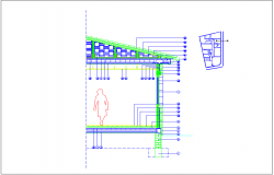 Interior side elevation and section view of floor dwg file