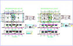 Interior view of class room design dwg file