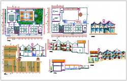 Interior view with plan elevation and section view of government school dwg file