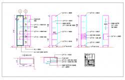 Interior wooden furniture wardrobe, elevation view - detail dimension dwg file