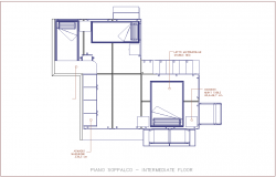 Intermediate floor of house with furniture view dwg file