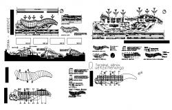 International airport elevation, section, distribution plan and auto-cad details dwg file