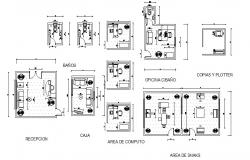 Internet cafe store areas distribution plan cad drawing details dwg file