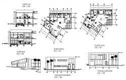 Internet cafe store elevation, section and floor plan details dwg file